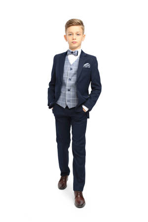 Franco Boys 3pc Suit - Navy with contrast waistcoat